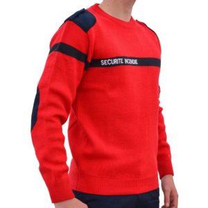 Pull Rouge Securité Incendie sans poches