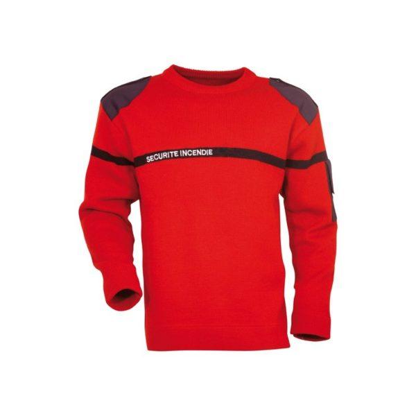 pull rouge securite incendie sans poches PH03